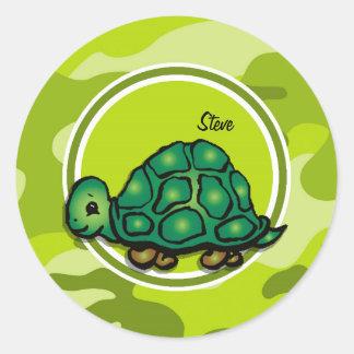 Tortuga camo verde claro camuflaje pegatinas redondas