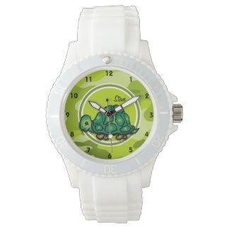 Tortuga; camo verde claro, camuflaje reloj de mano
