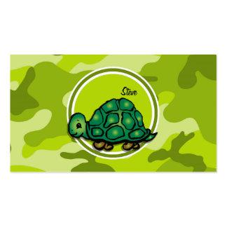 Tortuga; camo verde claro, camuflaje tarjetas de visita