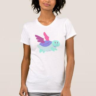 Tortuga coa alas azul violeta rosado de la poleras
