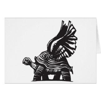 Tortuga coa alas tarjeta de felicitación