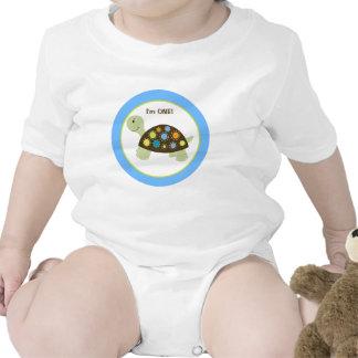 Tortuga colorida personalizada - azul trajes de bebé