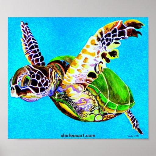 tortuga colorida póster