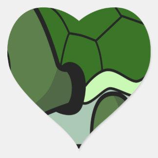 Tortuga de arrastre linda pegatina en forma de corazón