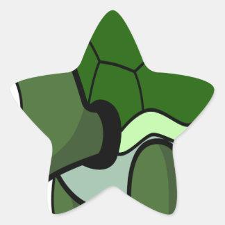 Tortuga de arrastre linda pegatina en forma de estrella