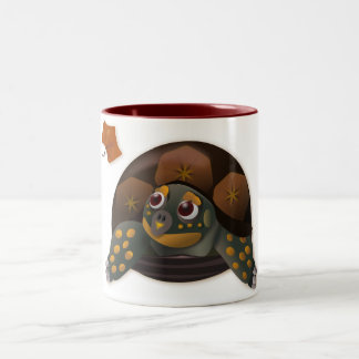 Tortuga de caja con la hoja del otoño taza de café