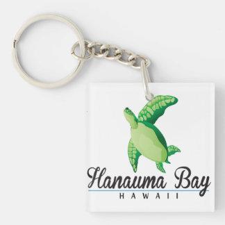 Tortuga de Hawaii de la bahía de Hanauma Llavero Cuadrado Acrílico A Doble Cara