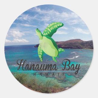 Tortuga de Hawaii de la bahía de Hanauma Pegatina Redonda