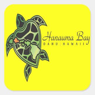 Tortuga de Hawaii de la bahía de Hanauma Pegatina Cuadrada