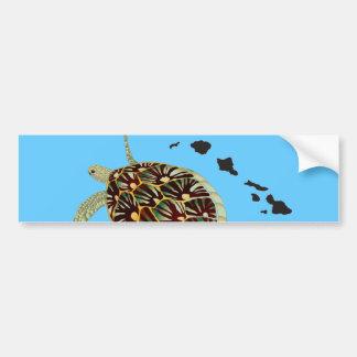 Tortuga de Hawaii e islas de Hawaii Etiqueta De Parachoque