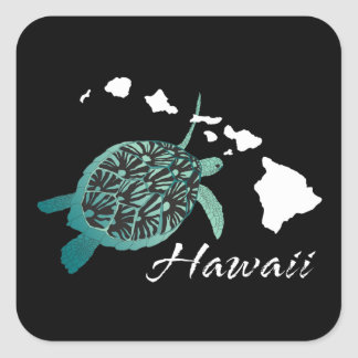 Tortuga de Hawaii Pegatina Cuadrada