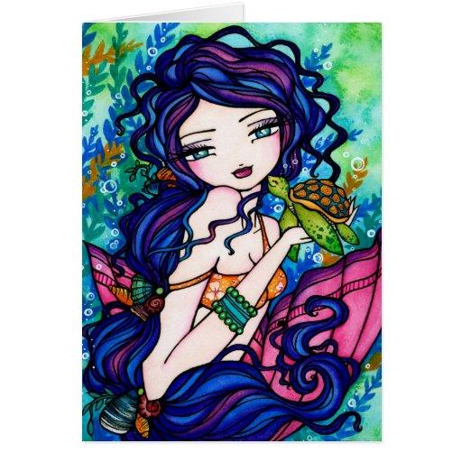 Tortuga de la hada de la fantasía de la sirena de tarjeta de felicitación