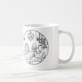 Tortuga de la mirada furtiva taza básica blanca