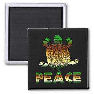 Tortuga de la paz imán cuadrado