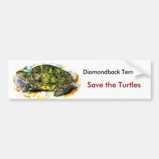 tortuga de la tortuga acuática de diamondback de J Pegatina Para Auto