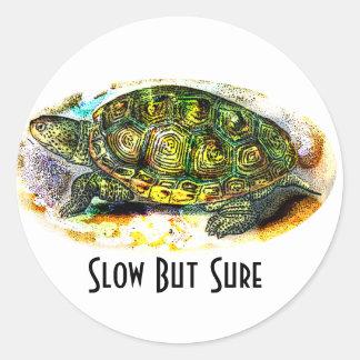 tortuga de la tortuga acuática de diamondback de pegatina redonda