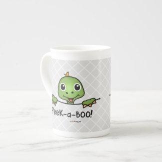 Tortuga de los mascotas del peekaboo (diversión, taza de porcelana