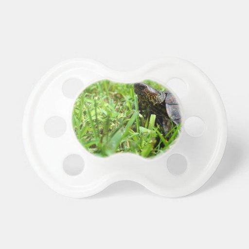 tortuga de madera adornada que mira a la izquierda chupetes
