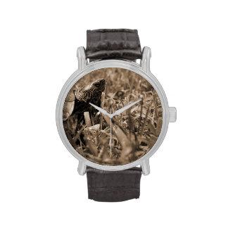 tortuga de madera adornada que mira sepia correcta relojes de pulsera