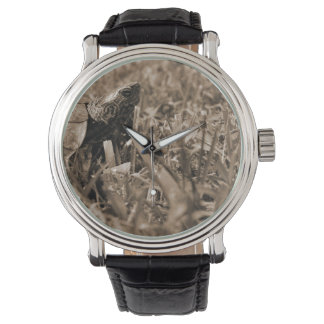 tortuga de madera adornada que mira sepia correcta reloj de mano