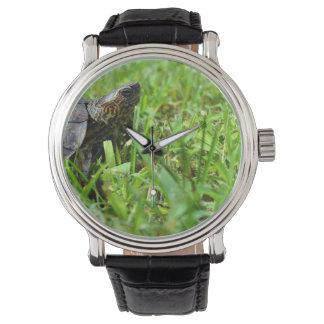 tortuga de madera adornada que parece derecha reloj