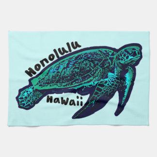 Tortuga de mar artística de Honolulu Hawaii Toallas De Mano