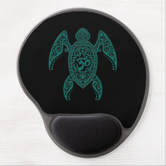 Tortuga de mar azul de OM del trullo en negro Alfombrillas De Ratón Con Gel