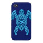 Tortuga de mar azul de OM iPhone 4 Protectores