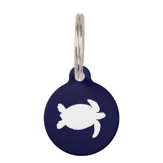 Tortuga de mar azul y blanco placas de mascota