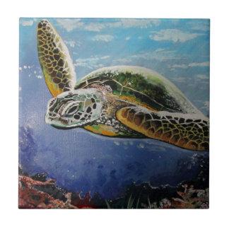 Tortuga de mar azulejo cuadrado pequeño