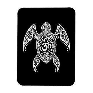 Tortuga de mar blanca de OM en negro Iman Rectangular