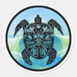 Tortuga de mar céltico pegatina redonda