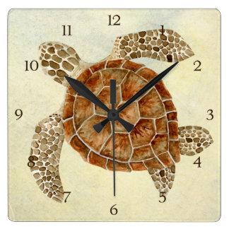 Tortuga de mar costera del collage de la costa del reloj cuadrado
