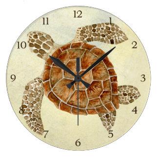 Tortuga de mar costera del collage de la costa del reloj redondo grande