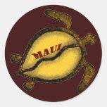 Tortuga de mar de Hawaii Maui Pegatina Redonda