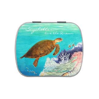 Tortuga de mar de Hawksbill Jarrones De Dulces