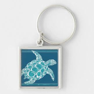 Tortuga de mar de la aguamarina llavero