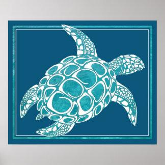 Tortuga de mar de la aguamarina posters