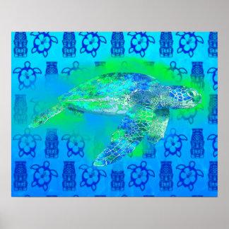 Tortuga de mar de la natación impresiones