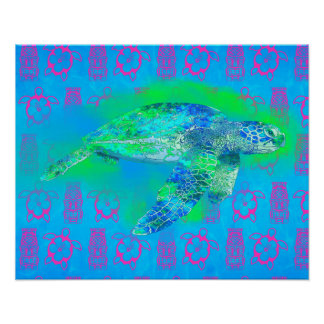 Tortuga de mar de la natación posters