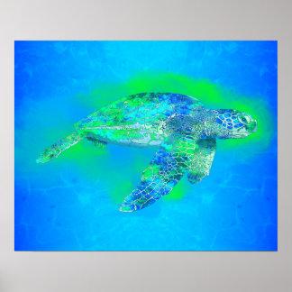 Tortuga de mar de la natación póster
