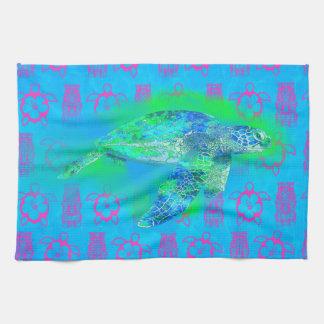 Tortuga de mar de la natación toallas de mano
