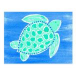 Tortuga de mar de la turquesa tarjeta postal