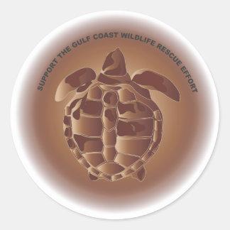 Tortuga de mar de Ridley de Kemp engrasado Pegatina Redonda