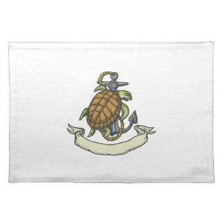 Tortuga de mar de Ridley en el dibujo del ancla Manteles Individuales