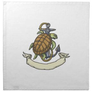 Tortuga de mar de Ridley en el dibujo del ancla Servilleta Imprimida