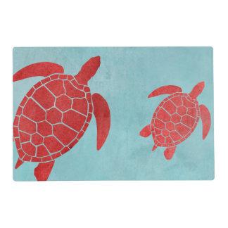 Tortuga de mar de verde rojo y azul tapete individual