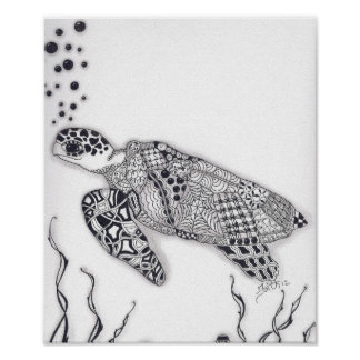 Tortuga de mar del mismo tamaño poster