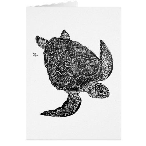 Tortuga de mar del necio Notecards Felicitaciones