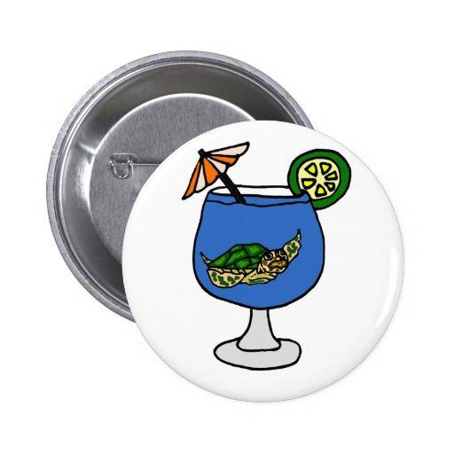 Tortuga de mar divertida en la bebida de Margarita Pin Redondo 5 Cm